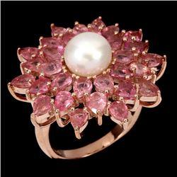 Natural  Pink Tourmaline & Pearl Ring