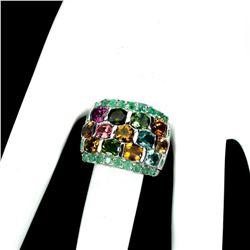 Natural Emerald & Tourmaline Ring