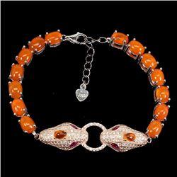 Natural Ethopian Oval Orange Fire Opal Cobra  bracelet