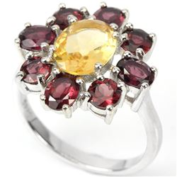 Natural Citrine & Rhodolite Garnet Ring