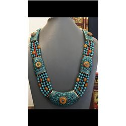Tibet Hand Made Natural Turquoise  Necklace