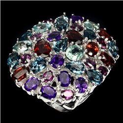 Natural Garnet Amethyst Zircon Topaz Ring