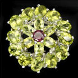 Natural 7x5 Mm Rich Green Peridot Garnet Ring