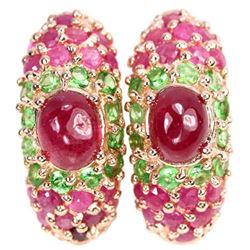 Natural RED RUBY OVAL & GREEN TSAVORITE GARNET Earrings