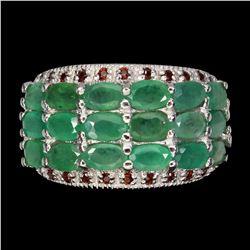 Natural Top Green Emerald & Garnet Ring