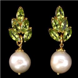 Natural Green Peridot & Japanese  Pearl Earrings