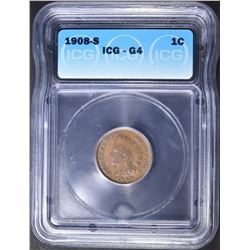 1908-S INDIAN CENT, ICG G-4