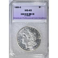 1889-S MORGAN DOLLAR, APCG CH BU