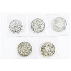 Group of (5) Canada Silver 50 Cents