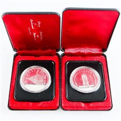Lot (2) Canada Cased Silver Dollars