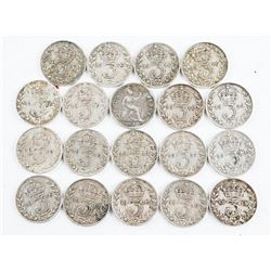 Lot (19) Silver 3 Pence and 1 Pence, 1916-1919
