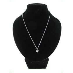 Silver Heart Necklace 1 Carat Heart Cut 'CZ'