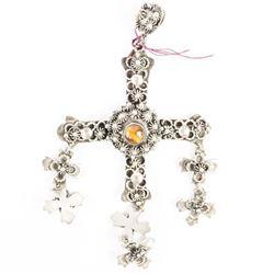 Estate 925 Vintage Cross Pendant with Tiger Eye. 1
