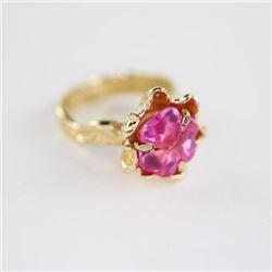 Estate Ladies 10kt Gold Pink Topaz Ring Size 5 3/4