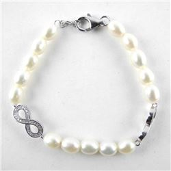 925 Silver Pearl Flex Bracelet with Forever Accent