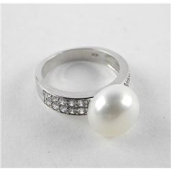 925 Silver Ring Size 6 3/4 Freshwater Pearl and Sw