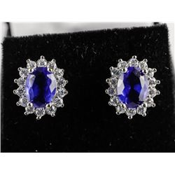 925 Silver, Oval Cluster Earrings with Swarovski E