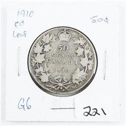 1910 Canada Silver 50 cent Edward-Leaf