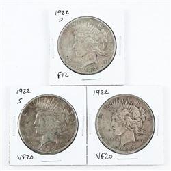 Lot (3) Varieties Mint Marks 1922, 1922(d) 1922(s)