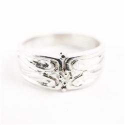 Estate Ladies 14kt White Gold Diamond Band Ring. S