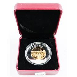 RCM 2005 .9999 Fine Silver with Gold overlay $8.00