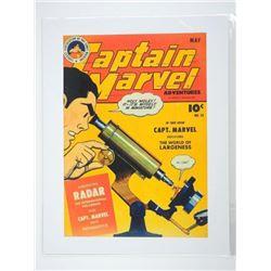 Captain Marvel Vintage Fine Art Print - Comic Cove