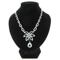 925 Silver Fancy Necklace Choker Length Blue and W
