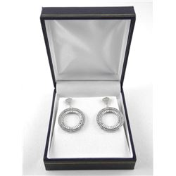 925 Silver Fancy Earring 2 Tier Hoops with Micro P