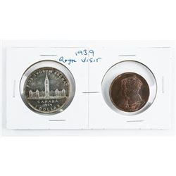 1939 Royal Visit Silver Dollar and RCM Medal