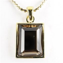 Gold Plated over BM Smokey Quartz Pendant with Her