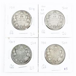 Group of (4) CAN Silver 50 Cent 1907, 1910, 1911,