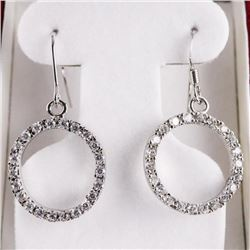 925 Silver Earrings Circle of Life Design with Swa