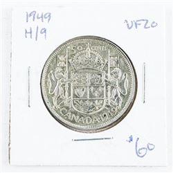 1949 H/9 Silver Canada 50 cent VF20. (CR)