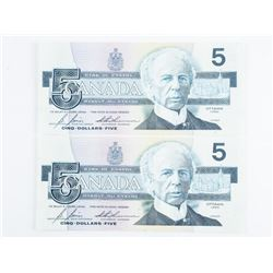 Group (2) 1986 Bank of Canada 5.00 UNC In Sequence