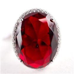 925 Silver Oval Ruby Red Swarovski Elements Ring.