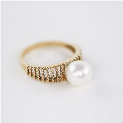 Estate Ladies 10kt Gold Cultured Pearl Ring SIZE 7