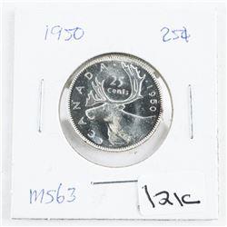 1950 Canada Silver 25 Cent MS63 (OE)