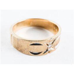 Estate 10kt Gold Band Ring - Brush Finish Diamond Cut Size 7 1/4