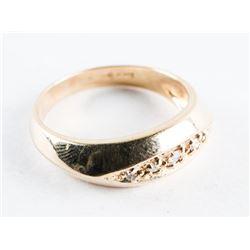 Estate Gents 10kt Gold 5 Diamonds Band Ring. 4.93grams