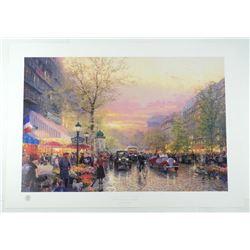 "Thomas Kinkade (1958-2012) Fine Art Print 'Paris, The City of Lights' Plate Signed 32x23"" Unframed."