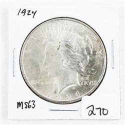 1924 USA Silver Peace Dollar MS63. (CR)