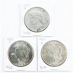Group of (3) USA Silver Dollars: 1921, 1922, 1923, Liberty and Morgan