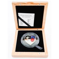 925 Silver $5.00 Heart Shaped Love Coin. LE/C.O.A. (SXR)