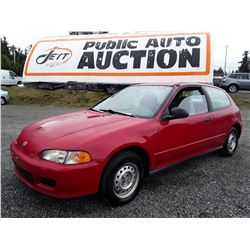 A10 --  1995 HONDA CIVIC CX , Red , 295330  KM's