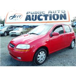 A2 --  2005 CHEVROLET AVEO LT  , Red , 204995  KM's