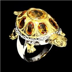 Natural Top Rich Yellow Citrine Turtle Ring
