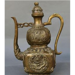 Antique Chinese Bronze Dragon Kylin Wine Tea Pot