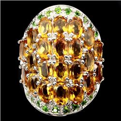 Natural Yellow Citrine Chrome Diopside 82.36 Cts Ring