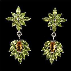 Natural Marquise Yellow Citrine & Peridot 58 Ct Earring