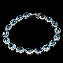 Natural Oval 8x6mm Swiss Blue Topaz Bracelet